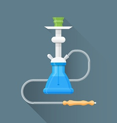 Flat blue metal hookah icon vector