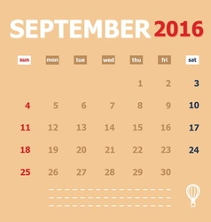 September 2016 monthly calendar template vector