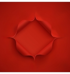 Hole in red paper vector image