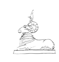 Golden sheep statue animal fairy vector image