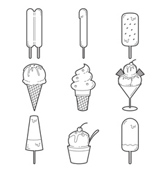 Ice cream outline objects icons set vector