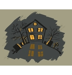 Dark halloween house orange light in windows vector