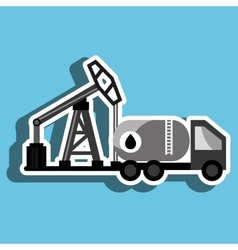 Truck with petroleum isolated icon design vector