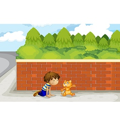 A boy and his pet vector image