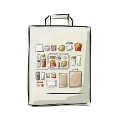 Bag with fast food sketch for your design vector