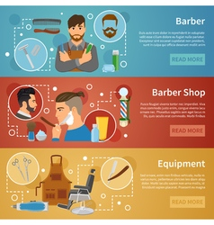 Barber Shop Banners Set Flat Style vector image vector image