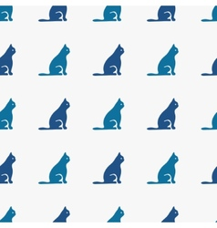 Blue cats seamless pattern vector image