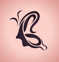 Butterfly and women logo vector