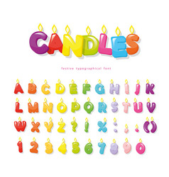 Candles font festive cartoon letters and numbers vector