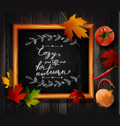 chalkboard with autumn leaves vector image vector image