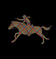 Cowboy riding horseaiming a gun vector