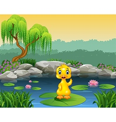 Cute baby duck waving on the lily water vector
