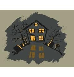 Dark halloween house orange light in windows vector