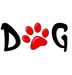 Dog Text With Red Paw Print vector image vector image