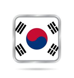Flag of south korea metallic gray square button vector