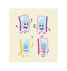 Four cartoon mobile phone smartphone character vector