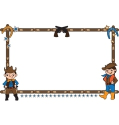Frame with cowboys vector