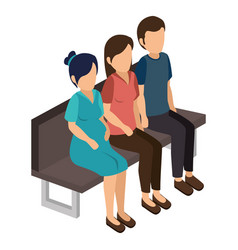 group of people sitting vector image