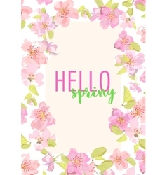 Hello spring Sakura flowers Design for vector image vector image