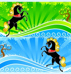 Horse abstraction banner vector image