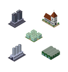Isometric urban set of water storage warehouse vector