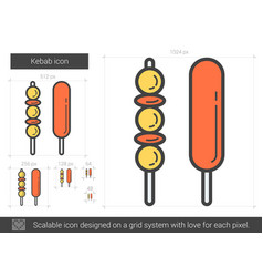 Kebab line icon vector