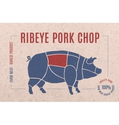 Label for pork steak meat cut vector image