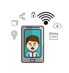 Man inside of smartphone and technology icons vector