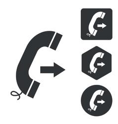 Outgoing call icon set monochrome vector