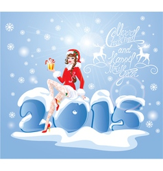 Pin up christmas girl wearing santa claus suit vector