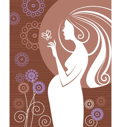pregnant woman in flowers vector image vector image