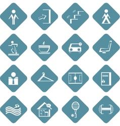 Set of flat information symbols of sport center vector