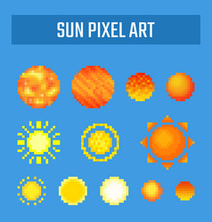set of pixel sun on blue background vector image vector image