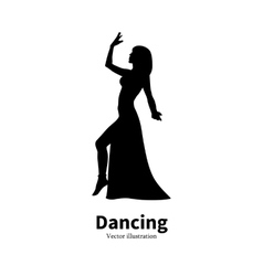 Silhouette Bollywood Eastern belly dancing girl vector image