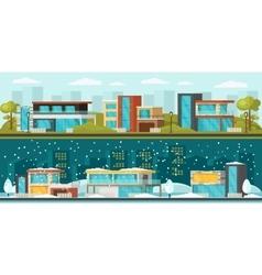 Suburban landscape horizontal banners vector
