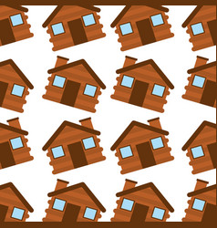 Wooden house camping seamless pattern image vector