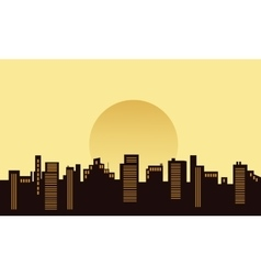 Silhouette of building beautiful scenery vector