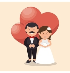 Bride and groom wedding love heart design graphic vector