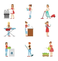 Happy modern housewives cleaning and housekeeping vector