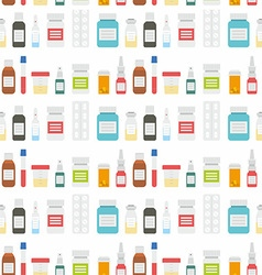 Medical pills and Drugs in Seamless Pattern vector image