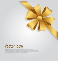 Bow golden wide ribbon bright six petals vector