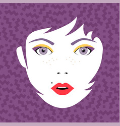Young fashion woman face portrait with make up vector