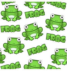 seamless pattern cute cartoon square green frog on vector image