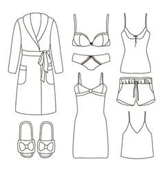 Set of womens homewear sleepwear and underwear vector