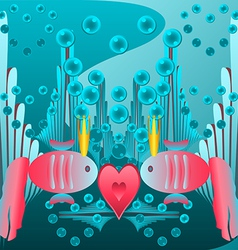 Card valentines day red fish vector