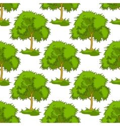 Seamless pattern of leafy green trees vector