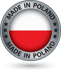 Made in Poland silver label with flag vector image