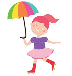 Circus girl with umbrella vector