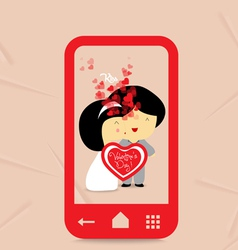 Valentines day sweet love couple with hearts in vector