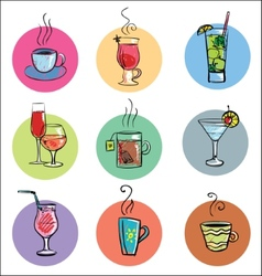 Set of sketchy drinks vector